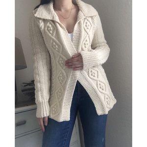 Vintage Sweaters - Vintage Cable Knit Open Tie Waist Cardigan